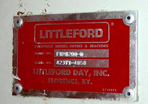 USED: Littleford plow mixer/dryer, model FKM1200D, stainless steel. 26 cubic feet working capacity, 43.4 total. Jacketed cha...