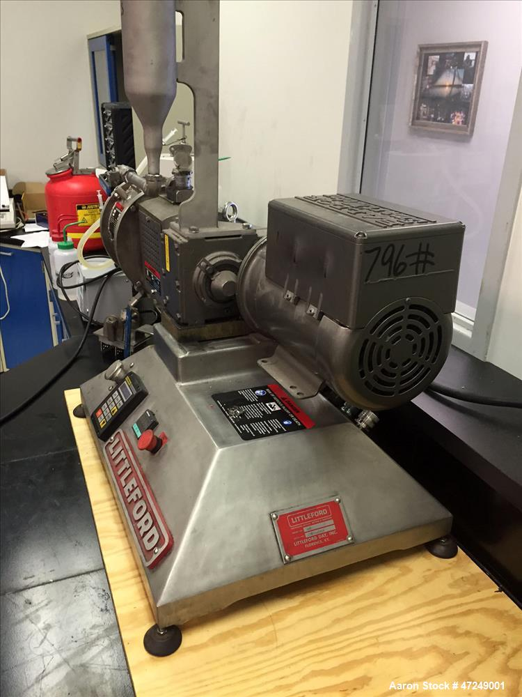 Used- Littleford Lab Size Polyphase Mixer, Dryer, Reactor, Model M-5. 316L stainless steel, 0.11 cubic feet working capacity...