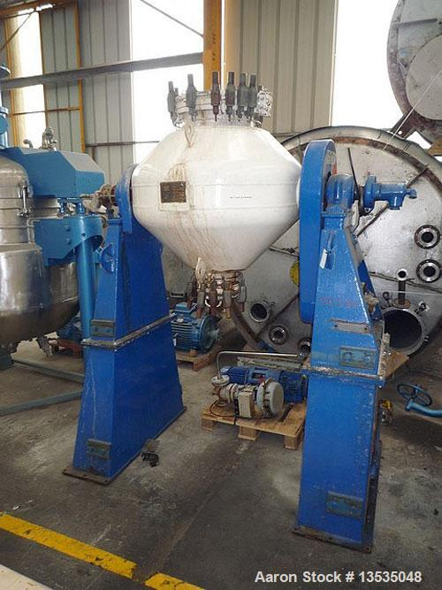 Used-Pfaudler MT400 Double Cone Rotary Vacuum Dryer, glass lined, built 1991.  Total volume 15.8 cubic feet (448 liters), do...
