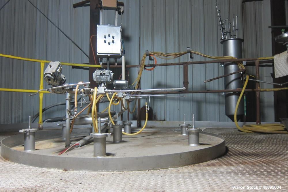 Used-Spray Dryer, Stainless Steel. Top entering nozzle type atomization. Includes filter, blower, and miscellaneous piping.