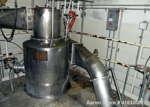 "Used- APV Anhydro Spray Dryer, Stainless Steel. Approximately 124"" diameter x 72"" straight side x 132"" coned bottom. Gas hea..."