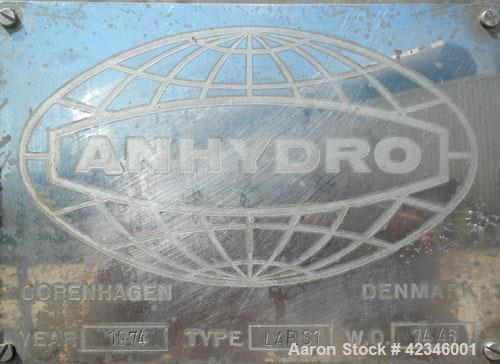 Used- Anhydro Electrically Heated Spray Dryer, Type Lab S1, 316 Stainless Steel. Evaporation rate at inlet/outlet temperatur...