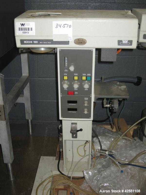 Used- Buchi Glass lab spray dryer, model B-190, glass chamber, with regulator and filter system, 220 volt, 60 Hz, 2600 W, bl...