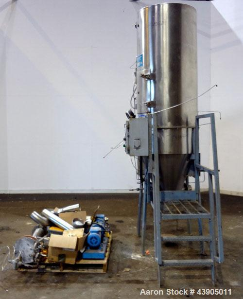 "Used- Bowen Engineering #1 Tower Spray Dryer, 304 Stainless Steel.  30"" Diameter x 72"" straight side x 37"" coned bottom.  Ap..."