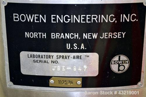 "Used- Bowen Engineering Electrically Heated Laboratory Spray Dryer, Model BLSA, 316 Stainless Steel. 30"" Diameter x 28-1/2"" ..."
