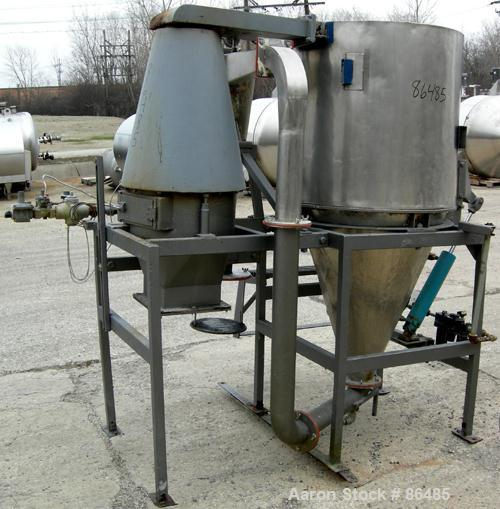 "USED: Bowen Engineering conical type laboratory spray dryer, 316 stainless steel. 30"" diameter x 30"" straight side x 36"" con..."