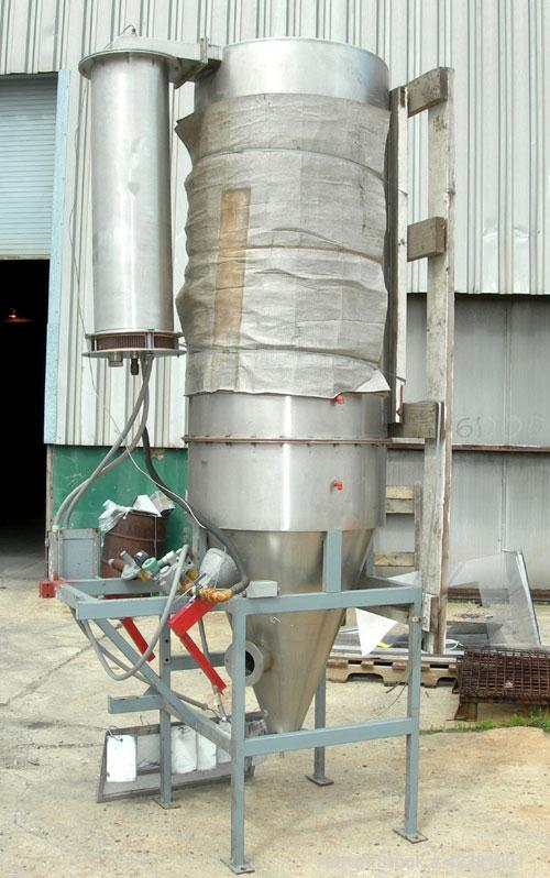 """Used-Bowen Engineering #1 Tower Spray Dryer, 316 stainless steel. 30"""" diameter x 72"""" straight side x 38"""" coned bottom. Requi..."""