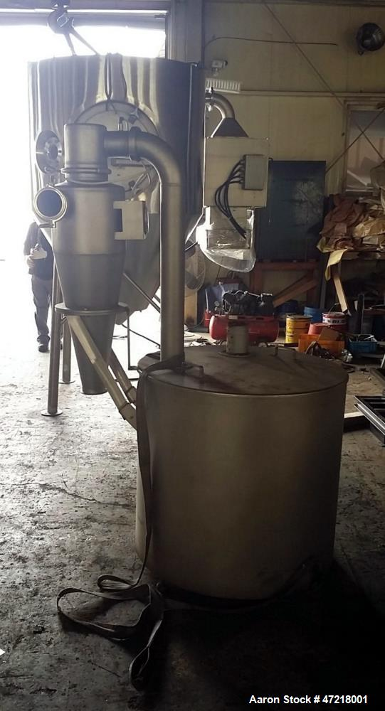 "Used- Niro Production Minor Spray Dryer, Size: 1.2 meter x .8 meter (3.94' diameter x 31.5"" straight side. Polished Stainles..."