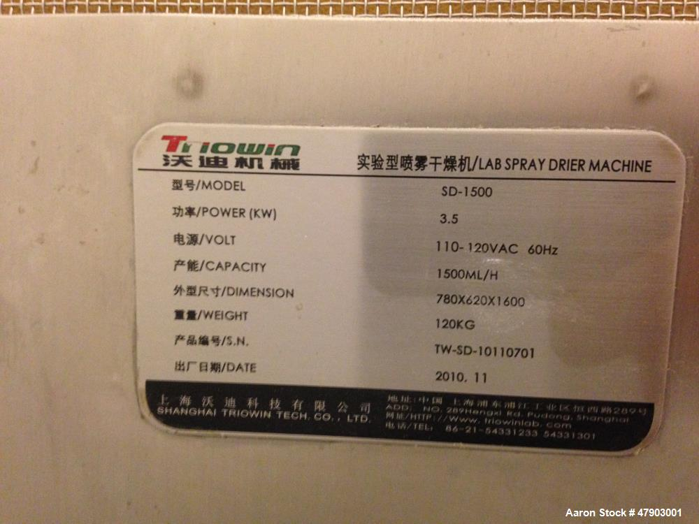 Used- Triowin Lab Spray Dryer, Model SD-1500. Capacity 1550 mL per hour. 3.5 KW, 110V-120VAC-60 Hz. Dimensions 780 x 620 x 1...