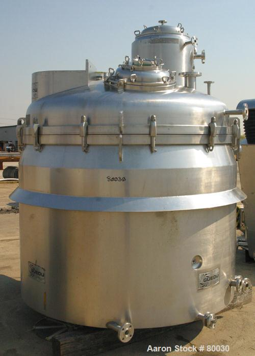 """USED: Guedu pan dryer, Hastelloy C-22 contact areas. 1500 to 3000 liter working capacity, 4500 liter total. Vessel is 82"""" di..."""