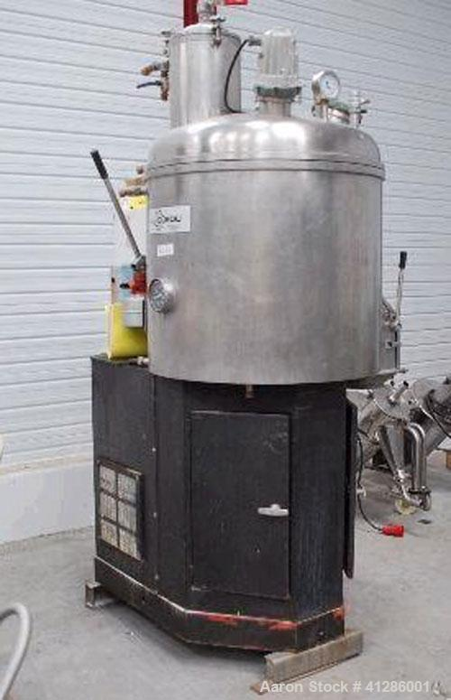 Used-Guedu 350 NO/PO Vertical Dryer-Mixer in 316 stainless steel. Capacity min 100 liters, max 350 liters (26-92 gallons), m...