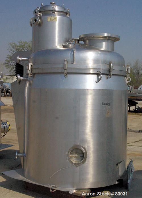 "USED: Guedu pan dryer, Hastelloy C-22 contact areas. 1000 to 2000 liter working capacity, 3000 liter total. Vessel is 68"" di..."