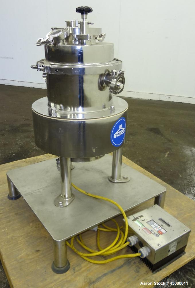 Used- Sweco Pharmasep Lab Filter Dryer, Model PH12, 316 Stainless Steel. Sanitary design. Batch capacity dry solids bases 0....