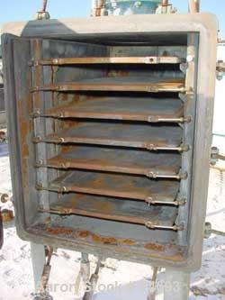 """USED: Vacuum shelf dryer, approximately 42 square feet, carbon steel. (7) 24"""" widex 36"""" deep jacketed shelves, 3-1/2"""" spacin..."""