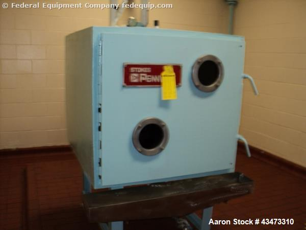"""Used- Stokes Vaccum Shelf Dryer, Model 338-D5. With (4) 24"""" wide x 36"""" deep trays, serial# P-73130."""
