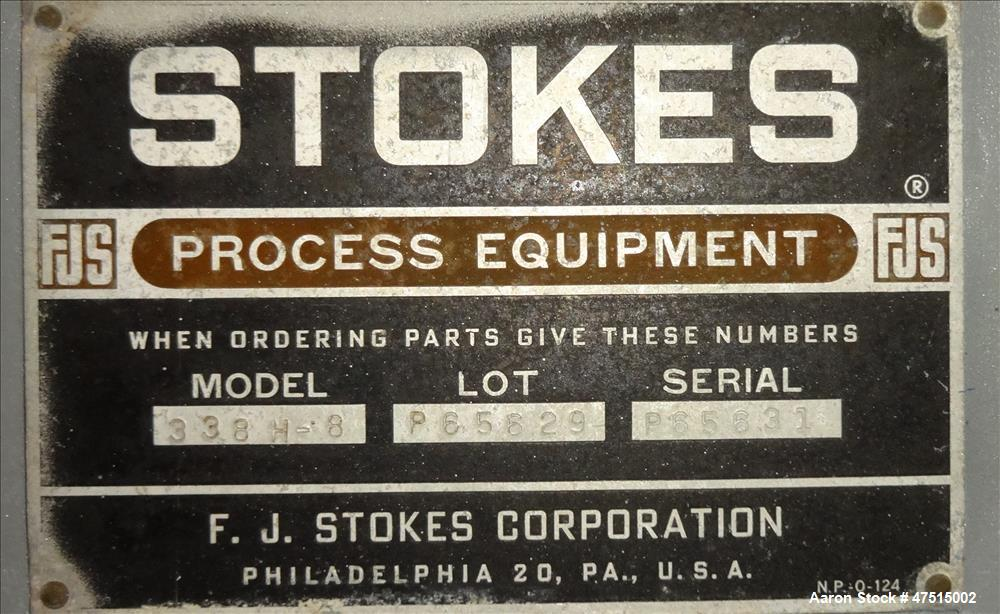 Used- Stokes Vacuum Shelf Dryer, Model 338H-8, 97.8 Square Feet, Carbon Steel.
