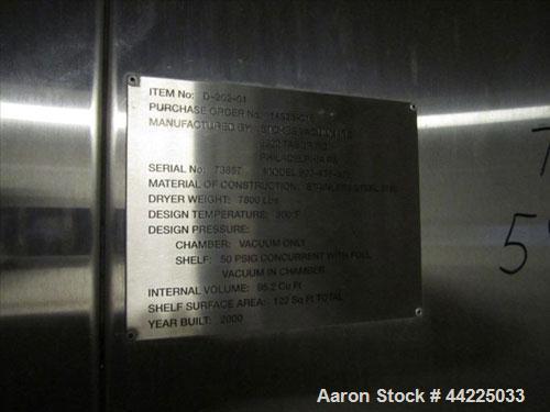 Used- Stainless Steel Stokes Vacuum Shelf Dryer, Model 900-438-305