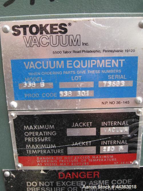 Used- Stainless Steel Stokes Vacuum Shelf Dryer, Model M-900-338