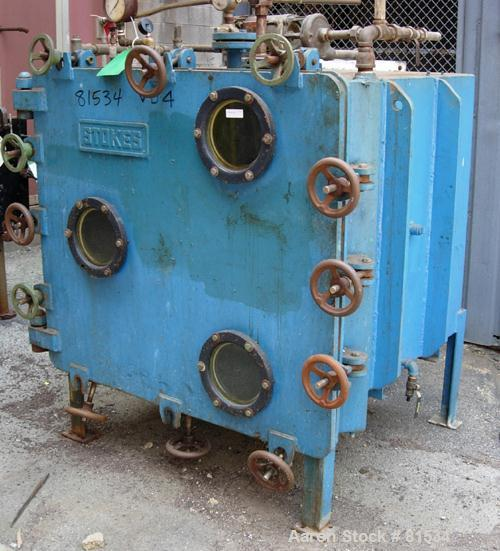 """USED: Stokes vacuum shelf dryer, approximately 48.9 square feet, carbon steel. (4) 44"""" wide x 40"""" deep x 1"""" thick coated she..."""
