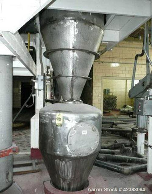 Used- Stainless Steel Cyclone Collector  7'H X 3' Dia. With S/S Receiver 4'H X 3' Dia.