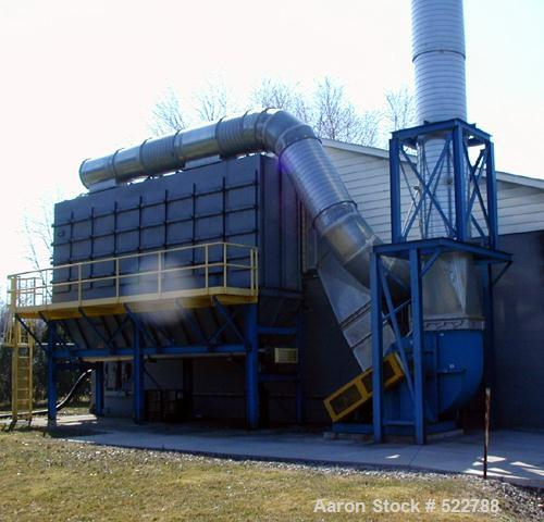 USED: Dust collector, approximate 10,000 square feet, rated 30,000cfm. Carbon steel, bottom discharge auger. Includes catwal...