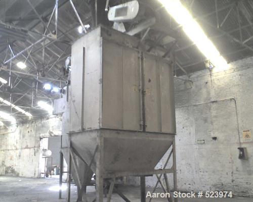 USED: American Air Filter reverse pulse 8,500 cfm dust collector baghouse with 1,200 square feet filter media, with fan and ...