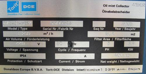 Used- Torit DryFlo Mist Collector, model DMC-D1-HEPA, carbon steel. Approximate 220 square foot filter area, 2000 cfm. 2.2 k...