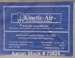 """Used- Kinetic Air Pulse Jet Dust Collector, Model 16RT36M, 75 Square Foot Filter Area. Stainless steel housing measures 34"""" ..."""