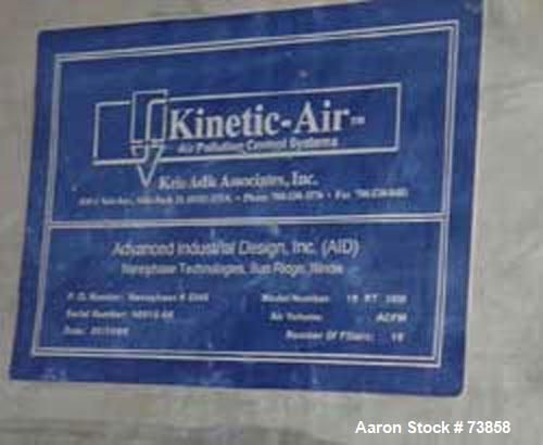 Used- Kinetic Air Pulse Jet Dust Collector, Model 16RT36M