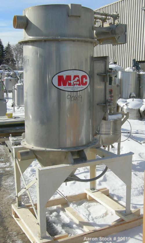 """Used: MAC pulse jet filter, model 36AVR7-STY3, 316 stainless steel. Approximate 30 square feet filter area.(7) 36"""" long bag ..."""