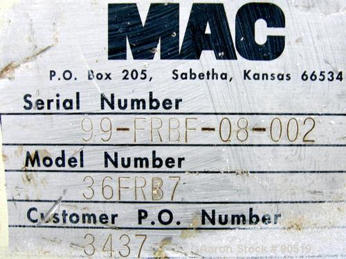 Used- MAC Pulse Jet Filter, Model 36FRB7, Carbon Steel. Approximate 30 square feet filter area. Approximate 320 CFM rating. ...