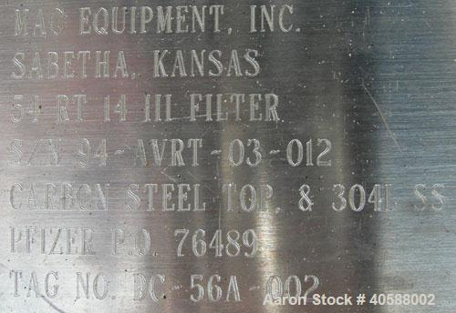 Used- Stainless Steel MAC Pulse Dust Collector, Model 54RT14