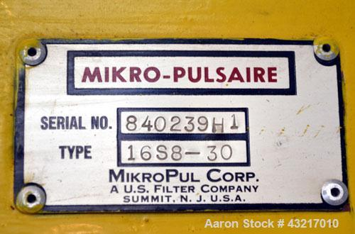 Used- Mikro-Pulsaire Pulse Jet Dust Collector, Model 16S8-30, Carbon Steel. Approximately 151 square feet filter area. Housi...