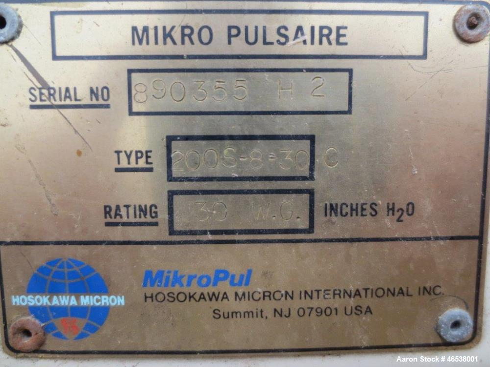 "Used- Mikro Pulsaire Dust Collection System, Model 200S-8-30C. (2) 20 HP New York Blowers, 200 tubes (4 1/2"" x 96""), Rating ..."
