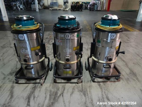 Used-Three (3) used Nilfisk vacuums, model 118AXX with stainless steel hopper