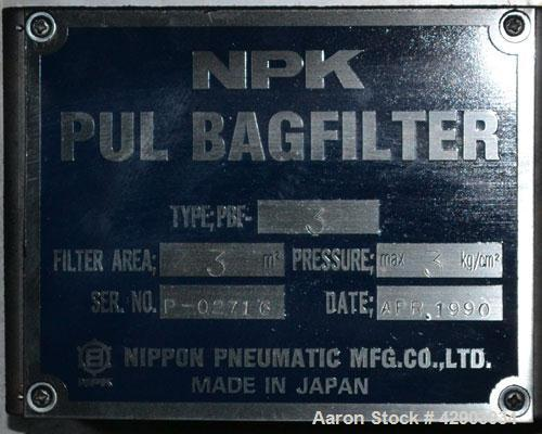Used-NPK Bin Vent Dust Collector, Model PBF-PPC-3, Stainless Steel. 32 Square feet filter area. Mounted on an approximate 65...