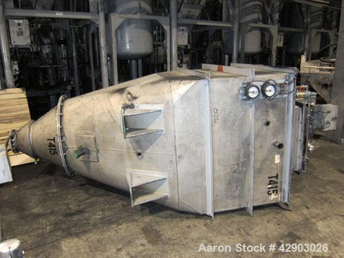 Used-NPK Bin Vent Dust Collector, Model PBF-PPC-5, Stainless Steel. 53 Square feet filter area. Mounted on an approximate 65...