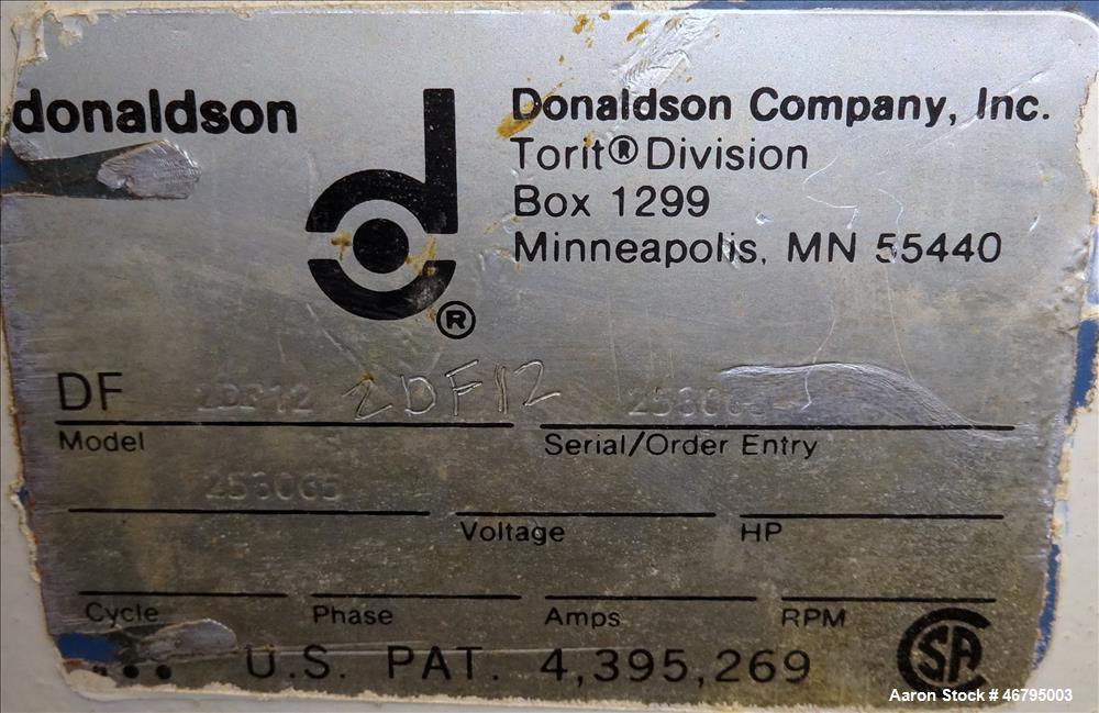 Used- Donaldson/Torit Downflo Pulse Jet Cartridge Dust Collector, Model 2DF12, C