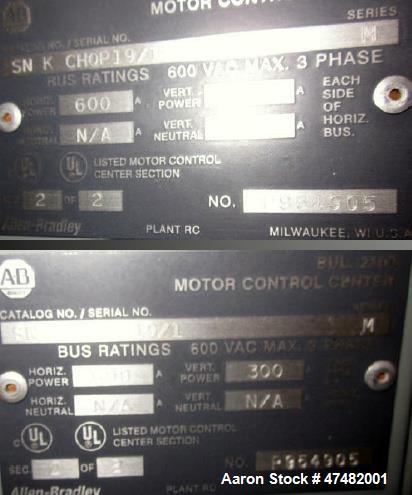 Used-Allen Bradley motor control center electrical panel.