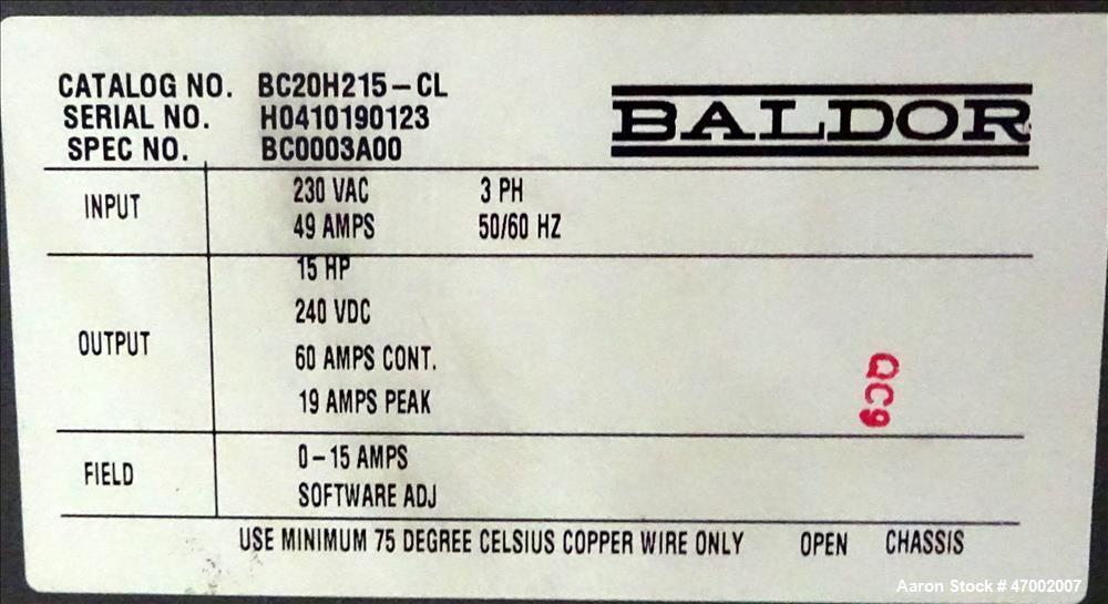 Used- Baldor Electric SCR DC Drive, Catalog# BC20H215-CL.
