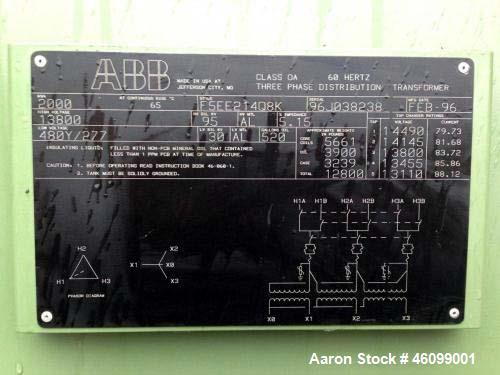 Used- ABB Dry Type Transformer, 2000 KVA. Serial number 96J053259, High Voltage 13800, Low Voltage 480Y/277.