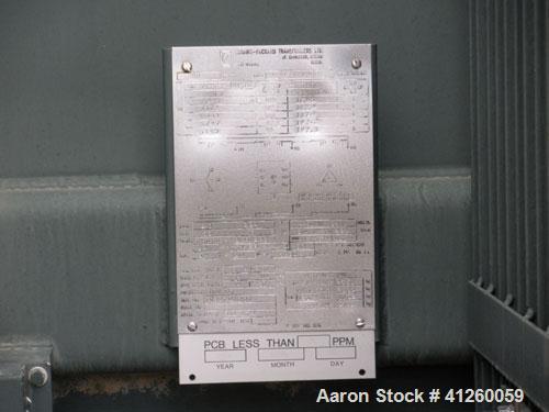 Used-Ferranti Packard Transformer, oil filled, 2000 KVA, 6900/4160, 2400 VAC, 3/60.  Less than 5 PPM PCB as of 11-09-1984