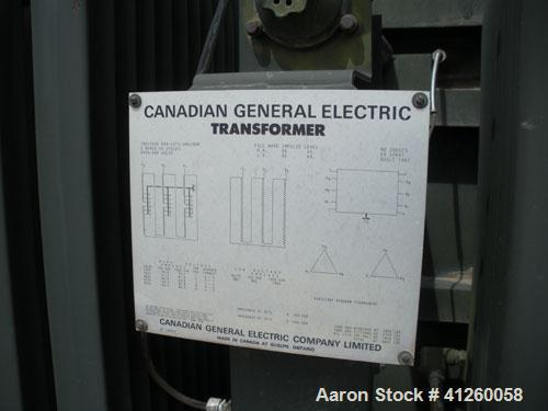 Used-General Electric Transformer, oil filled, 750/1000 KVA, 55 deg C - ONS/ONP, 3/60, 6900-480 volts.