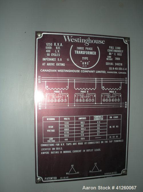 Used-Transformer, 1250 KVA, 6900 HV, 480 LV, 3/60.