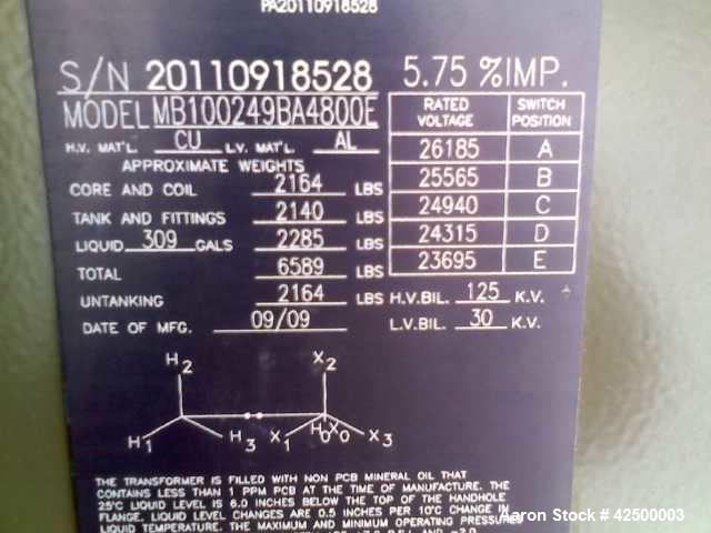 Used- Pauwels Turf Hugger Transformer. Model MB100249BA4800E, 1000 kVA, three phase. 65degrees C rise, 60 HZ, 5.75 % IMP. Mf...