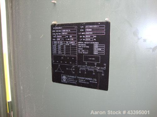 Used-Square-D 750 kva Transformer.  13.8 kV to 480/277 V Delta-Wye.