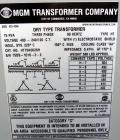 Used- MGM Transformer Company 75 KVA Dry Type Transformer, Type HT.  Nema class AA, 3 phase, 60 Hz.  High volt 480, low volt...