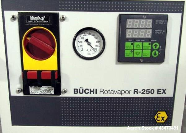 Used- Buchi RotaVap, Model R-250EX. With heat bath, main glass flask and glass coil condensor on base wth 9.1 kw heater, 440...