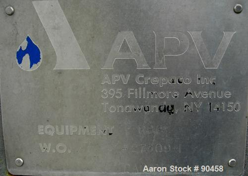 USED: APV single effect Paravap rising film evaporator, model R86,316 stainless steel. Approximate feed rate 10,000 pounds/...