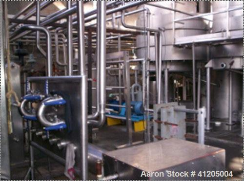 Used-50,000 Lb/Hr Alfa Laval 304L stainless steel, 4 effect, MVR type (no MVR with the evaporator) falling film evaporator s...